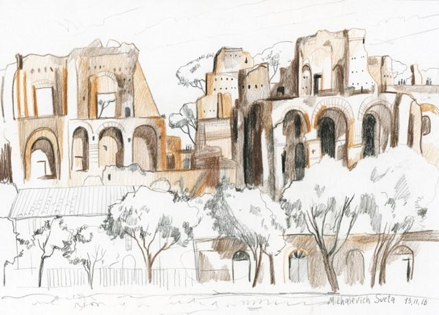 акварель Рим