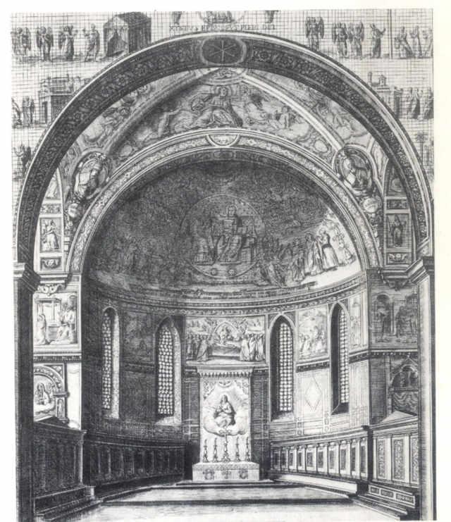 Схема мозаик апсиды церкви