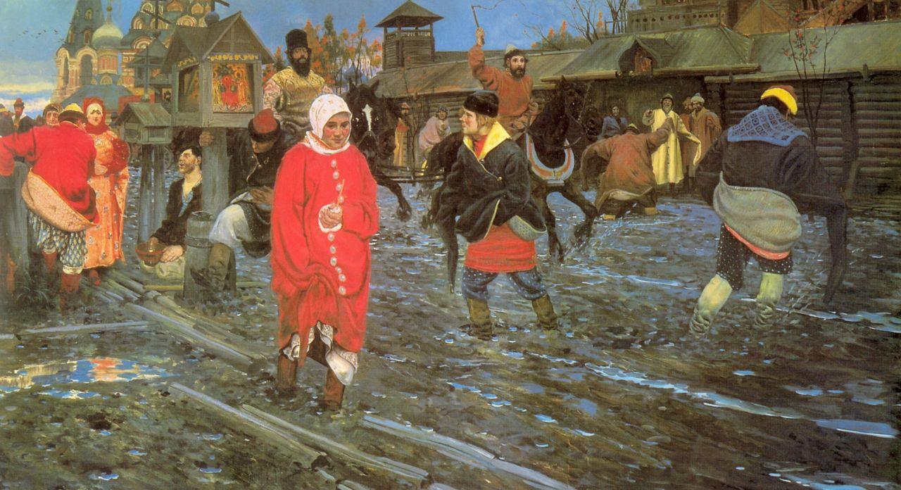 Московская улица 17 века в праздничный день
