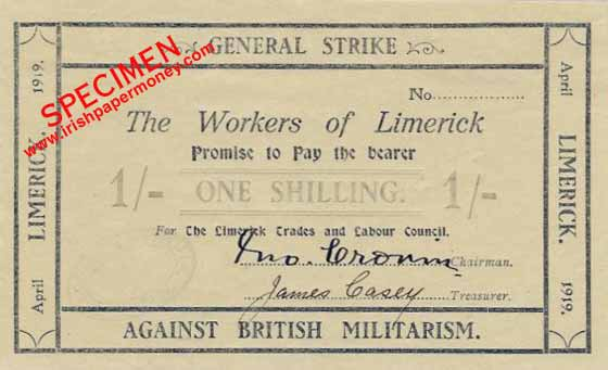 Денежная купюра, напечатанная Лимерикским советом профсоюзов