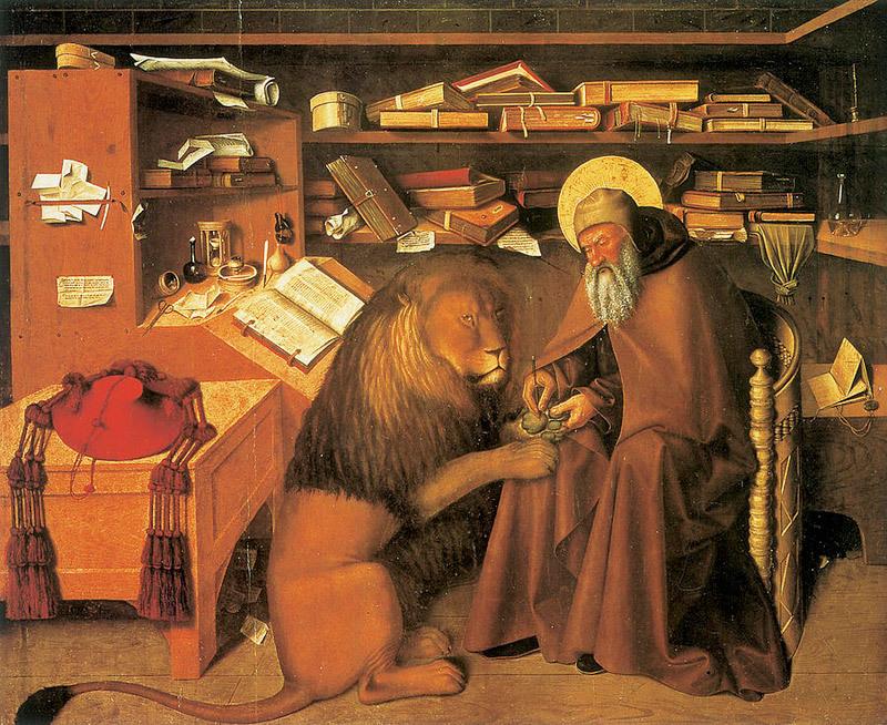 Святой Иероним исцеляет больного льва, вынимает ему занозу