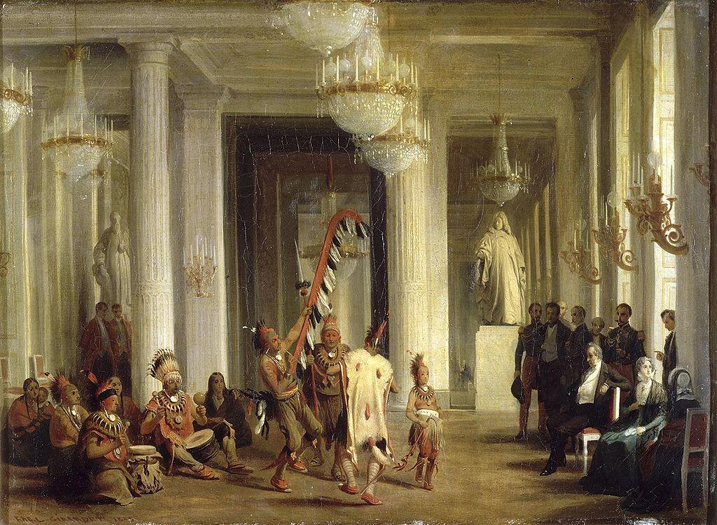 Король Луи-Филипп наблюдает за танцами индейцев Айовы в салоне Тюильри, 21 апреля 1845 года