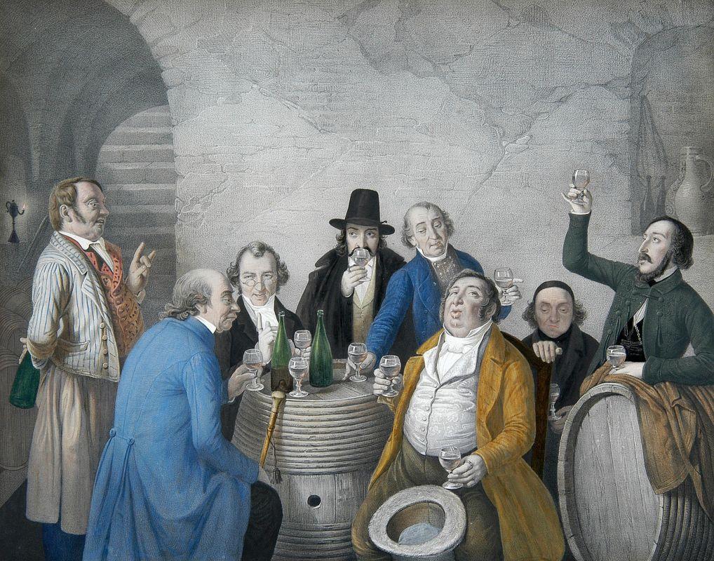 художниик Иоганн Петер ГАЗЕНКЛЕВЕР (1810-1853) / «Дегустация вина в винном погребе»