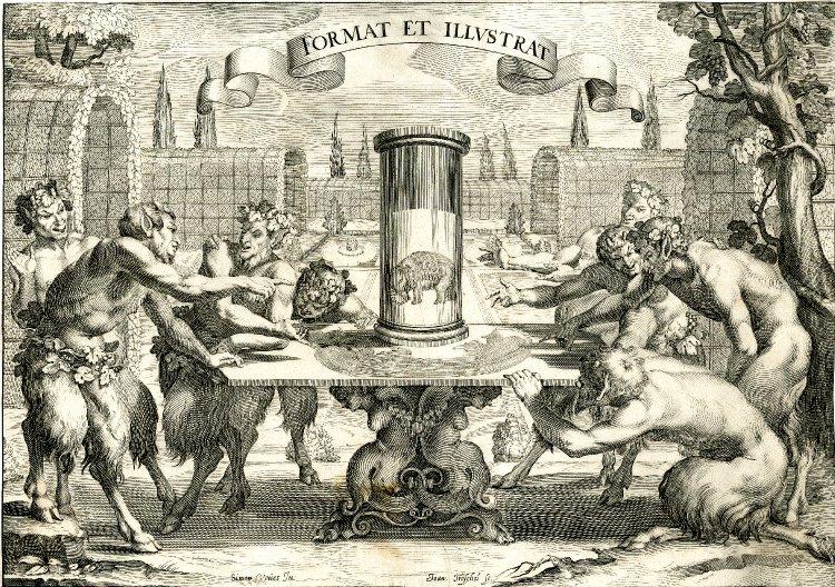 Ханс Трошель с рисунка Симона Вуэ / «Восемь сатиров, любующихся анаморфозом слона» / 1625