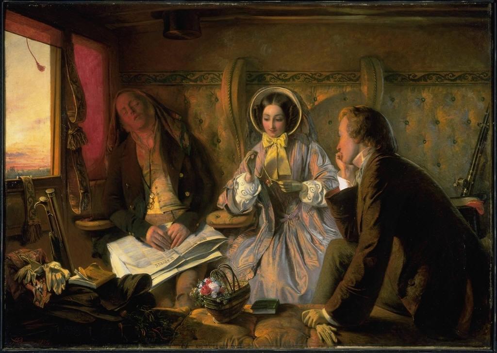 художник Абрахам СОЛОМОН (1825-1862) / «Первый класс: встреча ... влюблённые с первого взгляда»