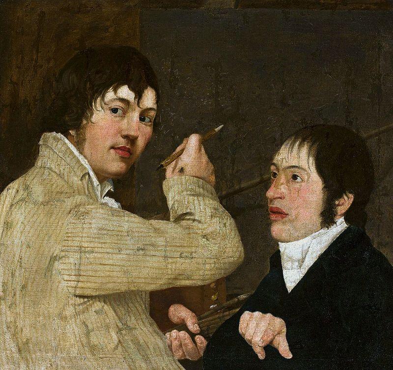 художник Антоний БЛАНК (1785-1844) / «Автопортрет с другом и мухой»