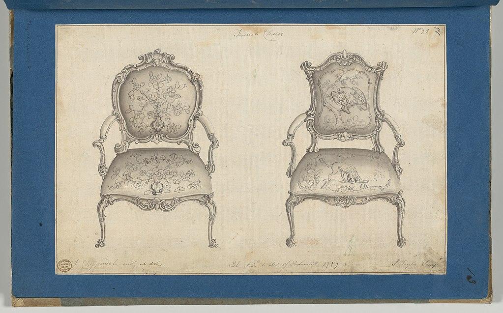 дизайнер / архитектор Томас ЧИППЕНДЕЙЛ (1718-1779) / эскиз-«Французские стулья»