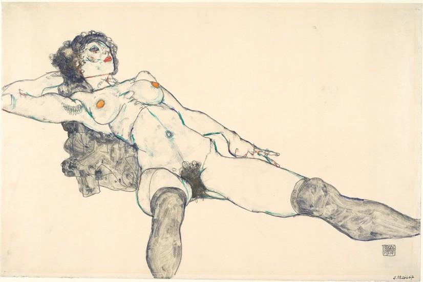 художник Эгон ШИЛЕ (1890-1918) / «Обнаженная женщина с раздвинутыми ногами»