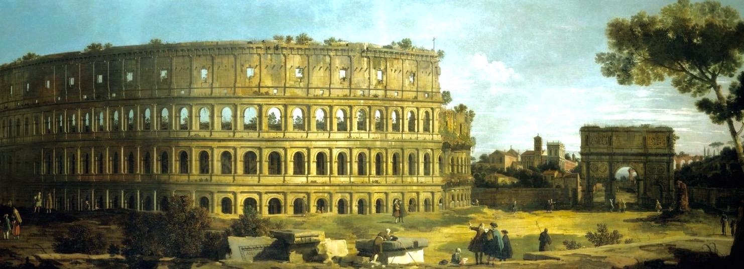 Вид на Колизей и арку Константина в Риме