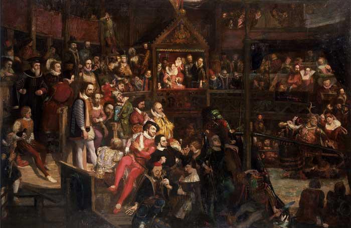 Дэвид Скотт / «Королева Елизавета на представлении «Веселых жен Виндзора» в театре «Глобус» / 1840