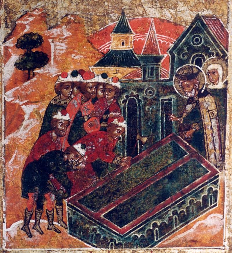 Петр и Феврония повелевают изготовить себе единый гроб