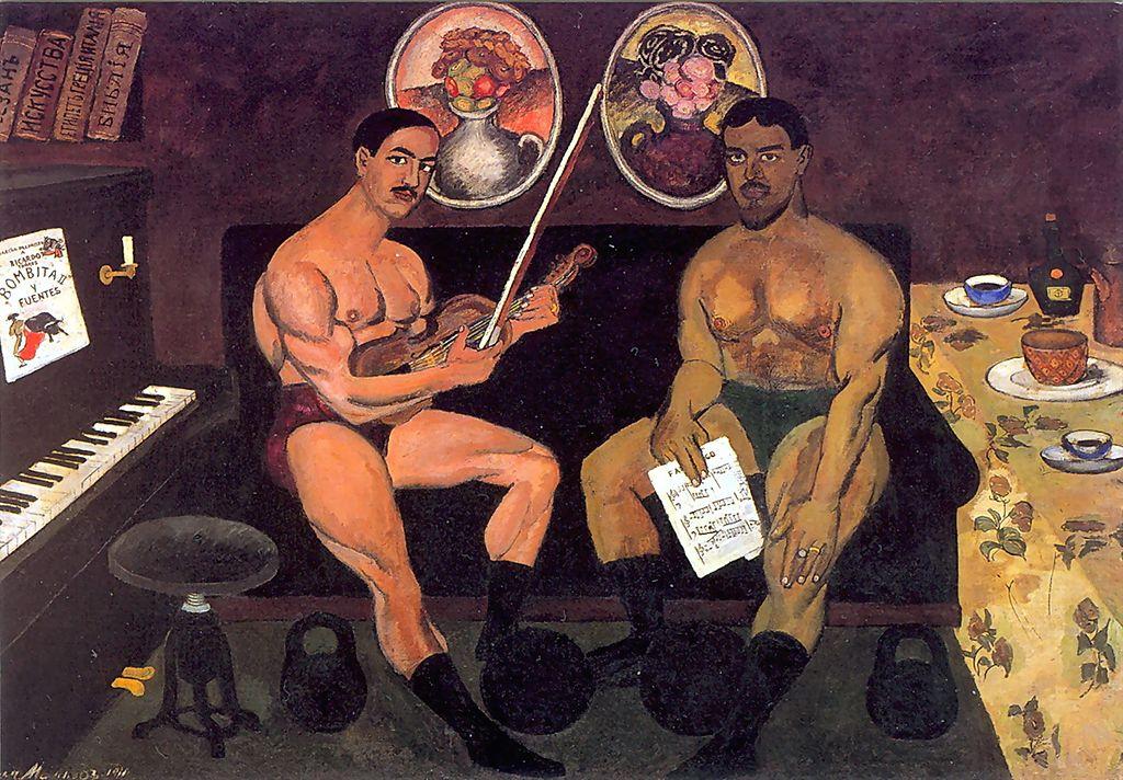 художник Илья МАШКОВ (1881-1944) / «Автопортрет и портрет Петра Кончаловского»