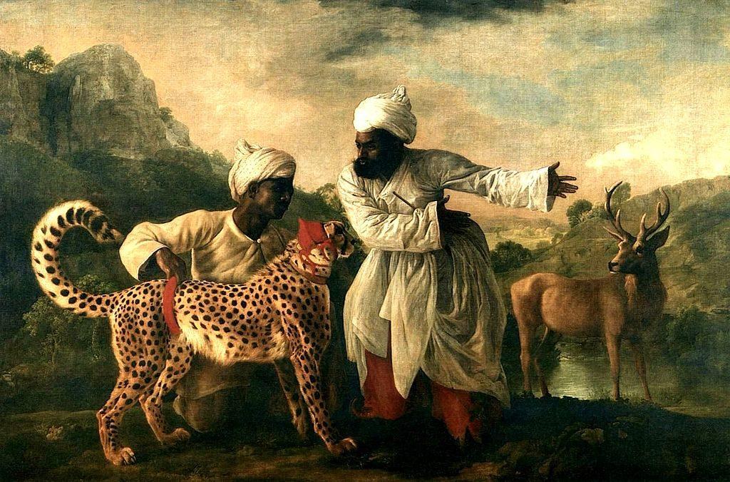 Два слуги-индийца с гепардом и олень
