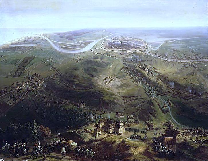 Панорамный вид блокады Гданьска французскими войсками в 1807 году