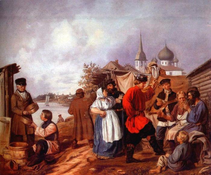 Андрей Попов / «Народная сцена на ярмарке в Старой Ладоге» / 1853