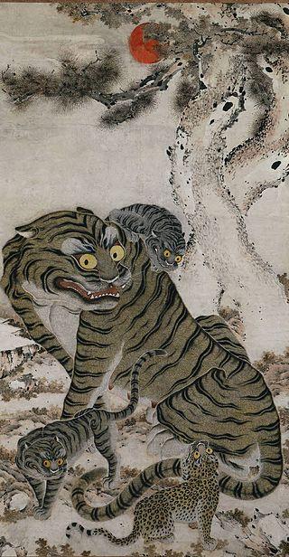 Anonymous / «Семейство тигров» / свиток конец 18 века