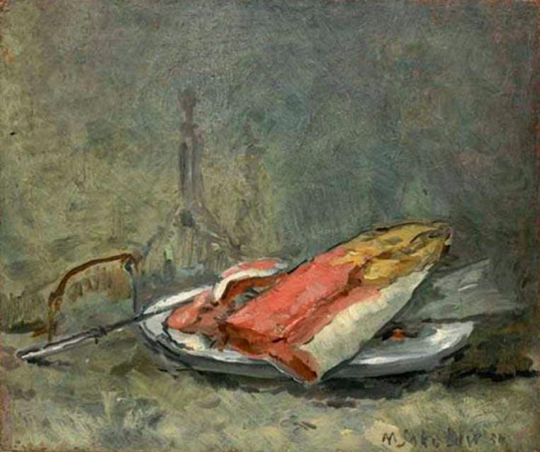 художник Михаил СОКОЛОВ (1885-1947) / «Натюрморт с кетой»