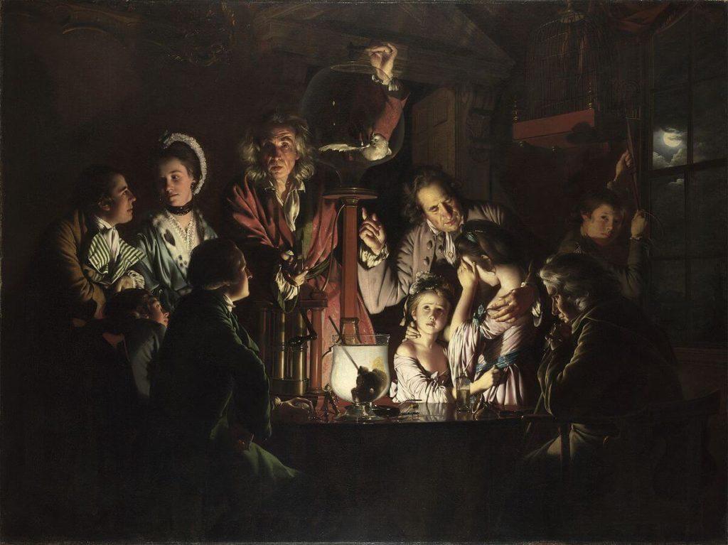 художник Джозеф РАЙТ (1734-1797) / «Эксперимент с птицей в воздушном насосе»