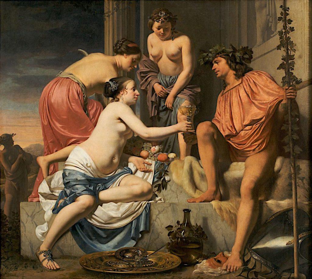 Цезарь ван Эвердинген / «Нимфа преподносит молодому Бахусу вино, фрукты и цветы» / 1678