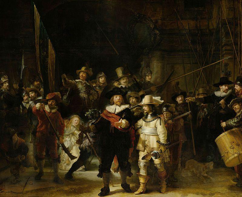 Рембрандт / «Выступление стрелковой роты капитана Франса Баннинга Кока и лейтенанта Виллема ван Рёйтенбюрга. Ночной дозор» / 1642