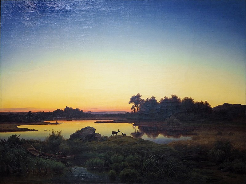 художник Антон ЦВЕНГАУЭР (1810-1884) / «Пейзаж с оленем на закате»