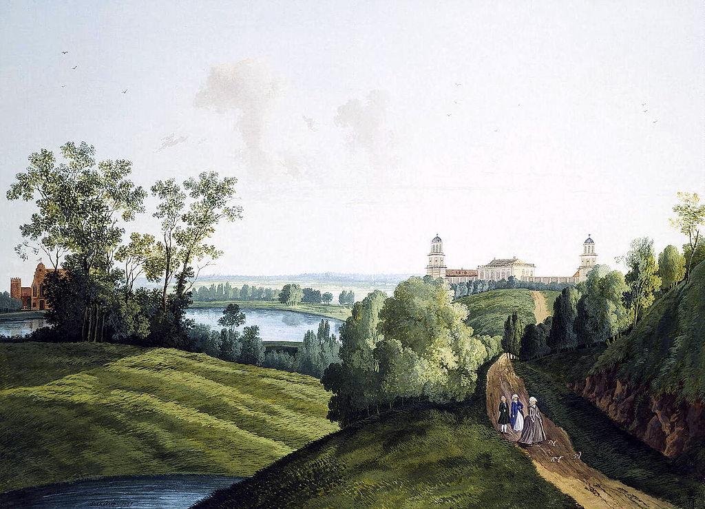 художник / Семён ЩЕДРИН (1745-1804) / «Пейзаж в Царскосельском парке с видом на ферму»