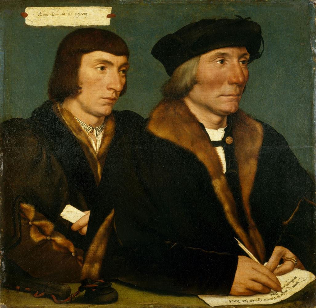 Ганс Гольбейн Младший / «Двойной портрет нотариуса и судьи Томаса Годселва и его сына Джона» / 1528