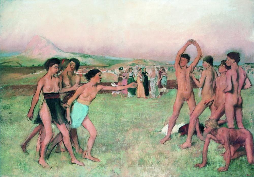 Эдгар Дега / «Спартанские девушки, вызывающие юношей на состязание» / 1861