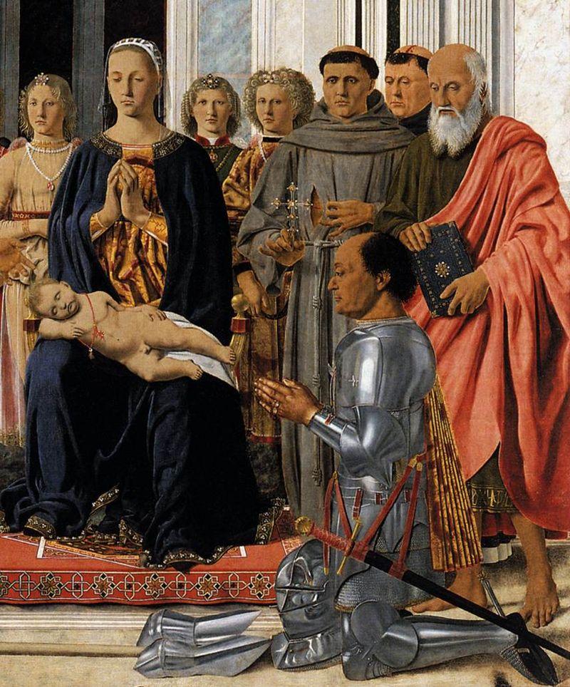 Пьеро делла Франческа / « Алтарь Монтефельтро» - Святое Собеседование, фрагмент / 1472-74