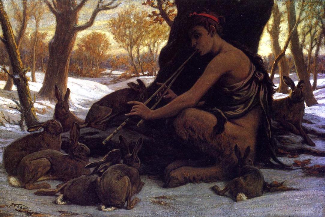 Илайхью Веддер / «Юный Марсий очаровывает зайцев» / 1878