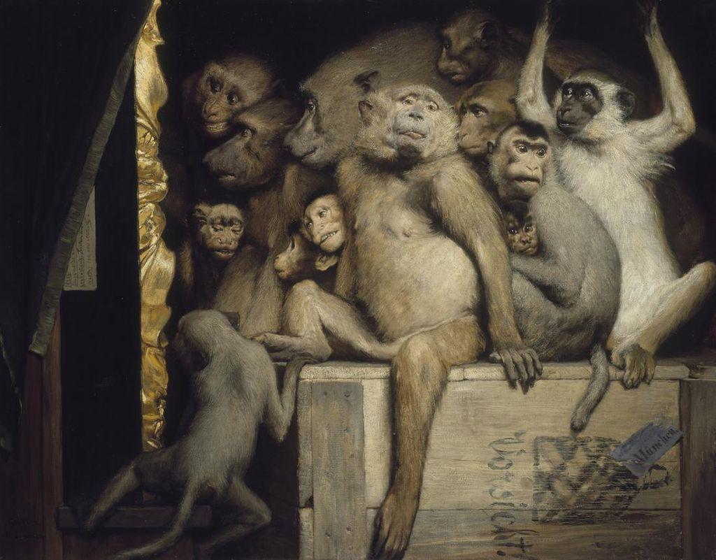 Габриэль Макс / «Обезьяны — критики искусства» / 1889
