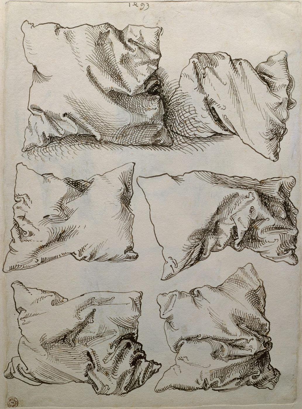 художник / Альбрехт ДЮРЕР (1471-1528) / «Шесть этюдов подушек», (обратная сторона «Автопортрета с этюдами руки и подушки»)