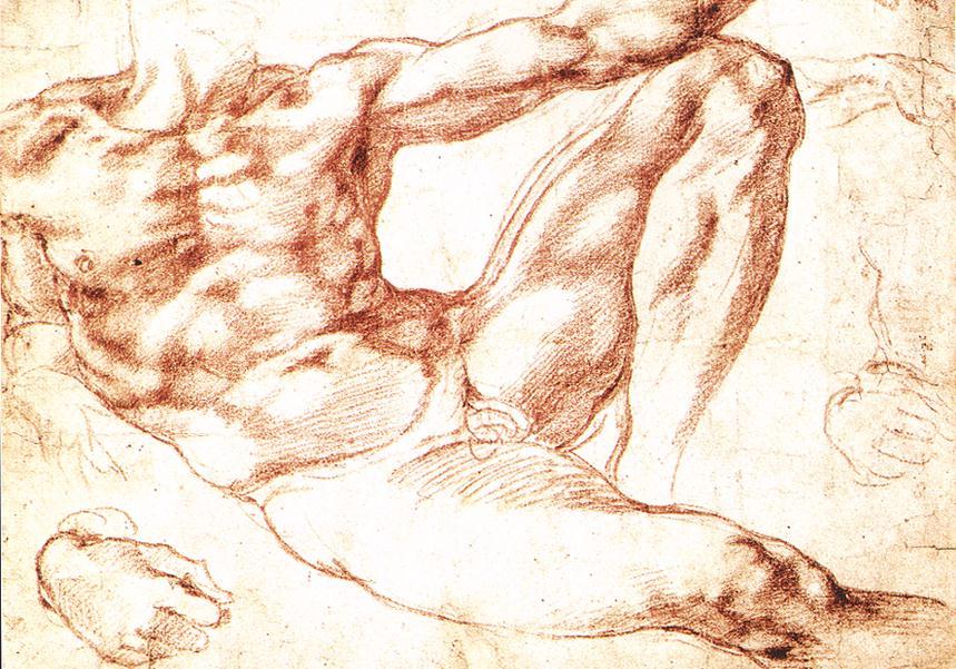 Микеланджело Буонарроти / эскиз к фреске «Сотворение Адама» / 1510
