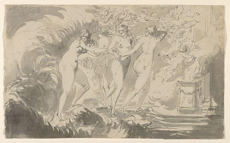 адмирал / теоретик искусства / художник/архитектор / Карл Август ЭРЕНСВЕРД (1867-1933) / «Четыре обнаженных женщины, окруженные Путти, приближаются к алтарю»