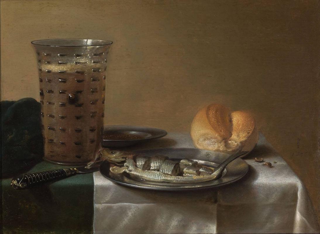 Питер Клас / «Натюрморт с бокалом пива и копченой сельдью на тарелке» / 1636