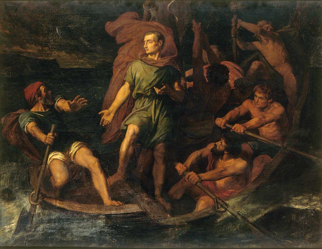 художник Жюль-Эли ДЕЛОНЕ (1828-1891) / «Цезарь в лодке»