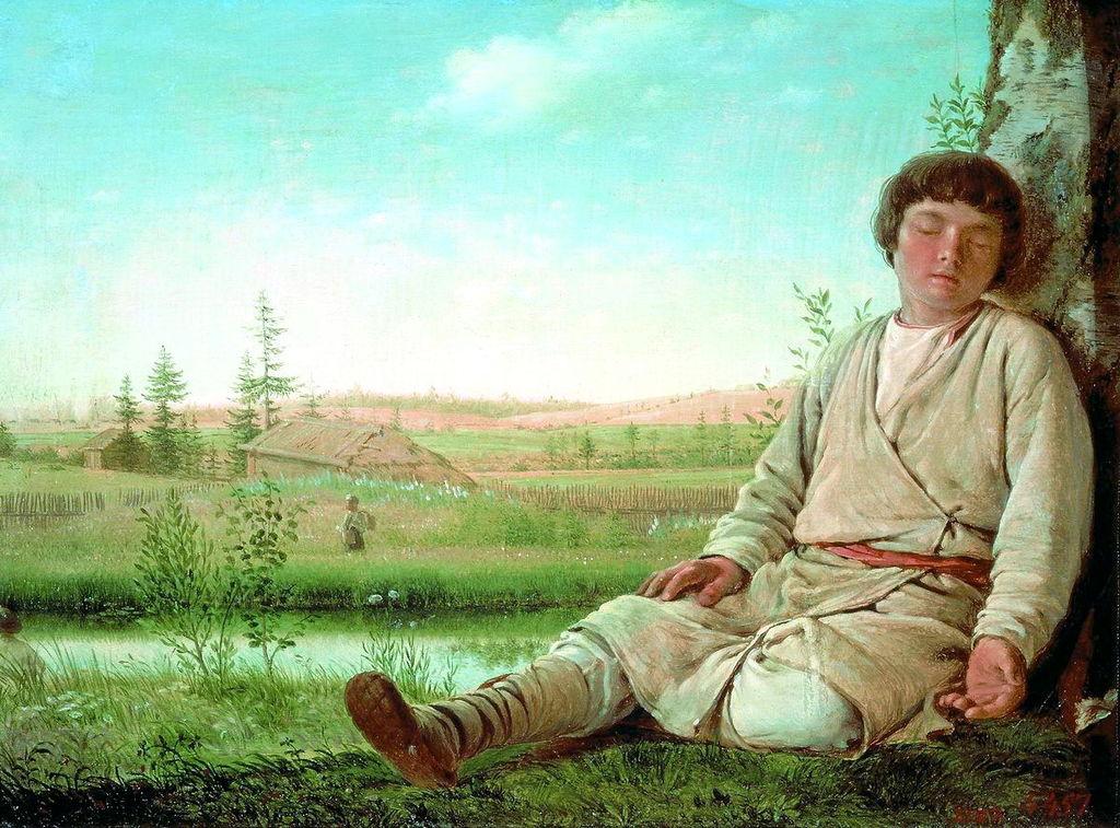 Алексей Венецианов / «Спящий пастушок» / 1823