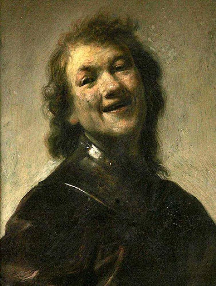 художник Харменс ван Рейн РЕМБРАНДТ(1606-1669)/ «Смеющийся Рембрандт, автопортрет»