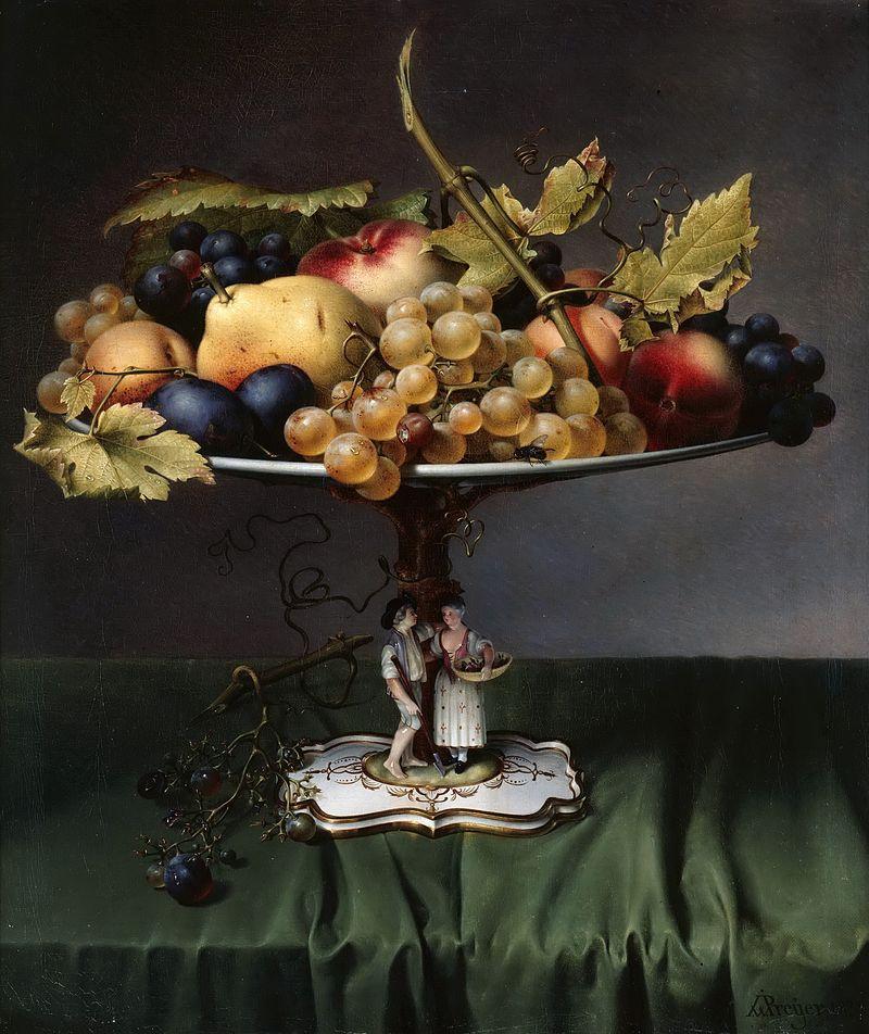 художник Иоанн-Вильгельм ПРЕЙЕР (1803-1889) / «Фрукты на фарфоровой блюде»