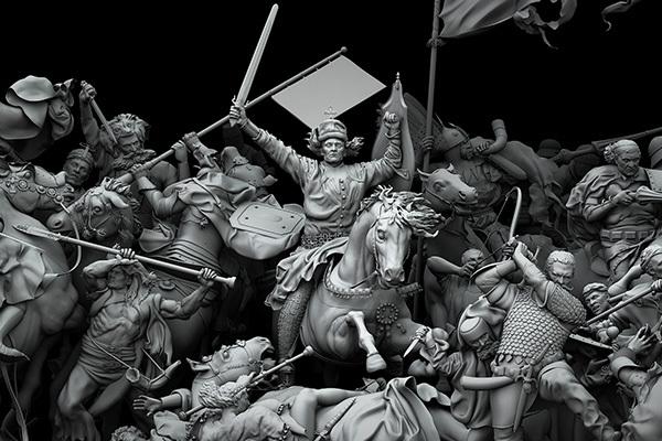 фрагмент 3D реконструкции по мотивам картины Яна Матейко / «Грюнвальдская битва»