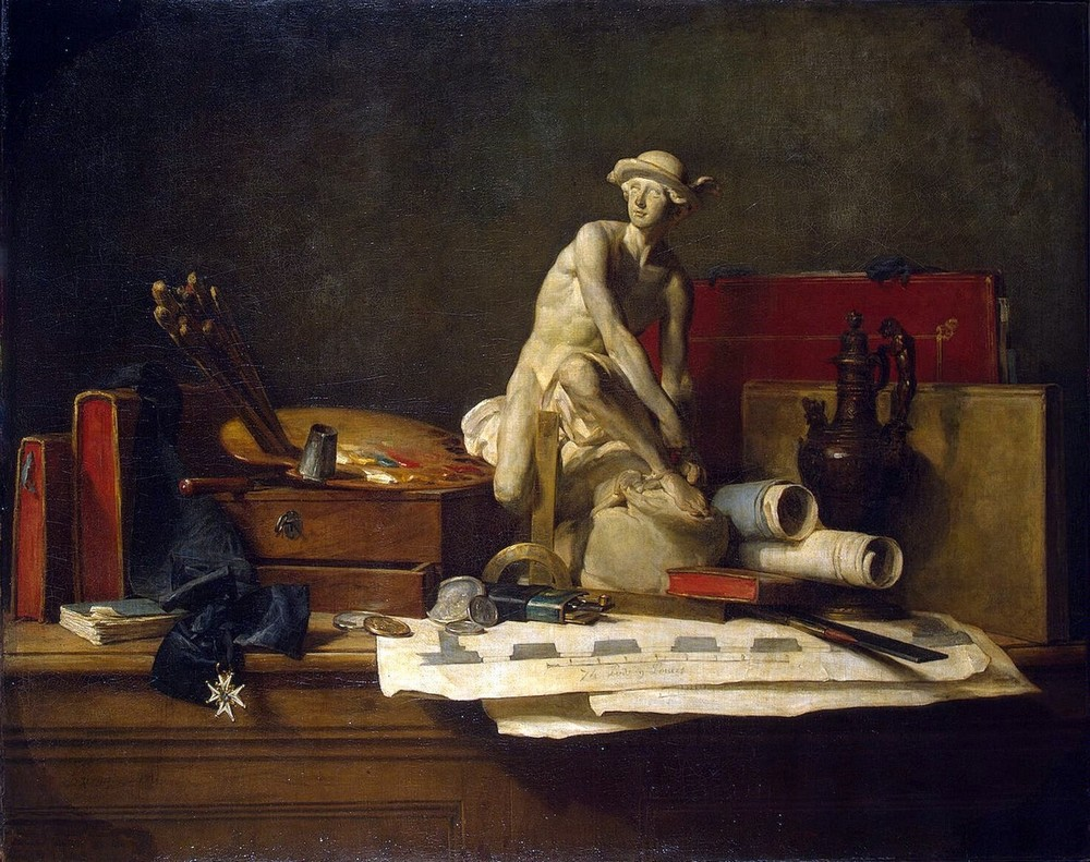 Жан Батист Шарден / «Натюрморт с атрибутами искусства» / 1766