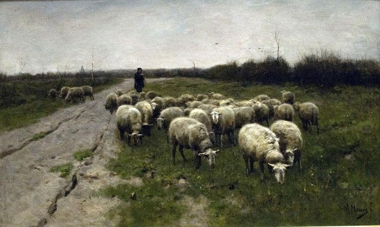художник Антон МАУВЕ (1838-1888) / «Овцы на болоте»