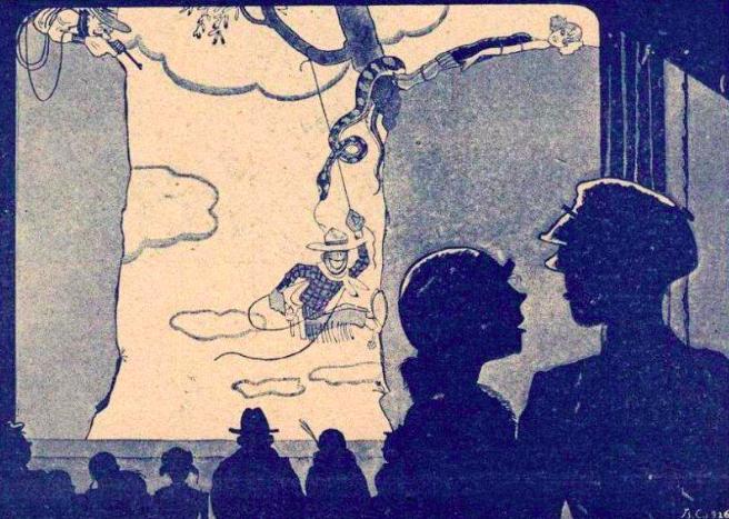 Владимир Сутеев / «В кинотеатре», иллюстрация в газете «Смена» / 1926