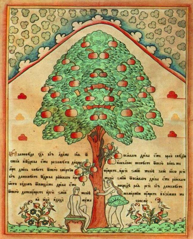 Неизвестный автор / русский рисованный лубок / «Адам и Ева у дерева Познания» / первая половина XIXв.