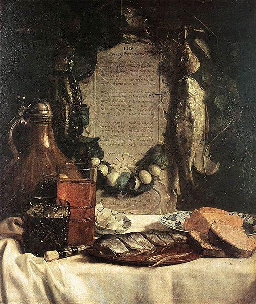 Йозеф де Брай / «Ода сельди», натюрморт с сельдью и стихотворение Якоба Вестербаена / 1656