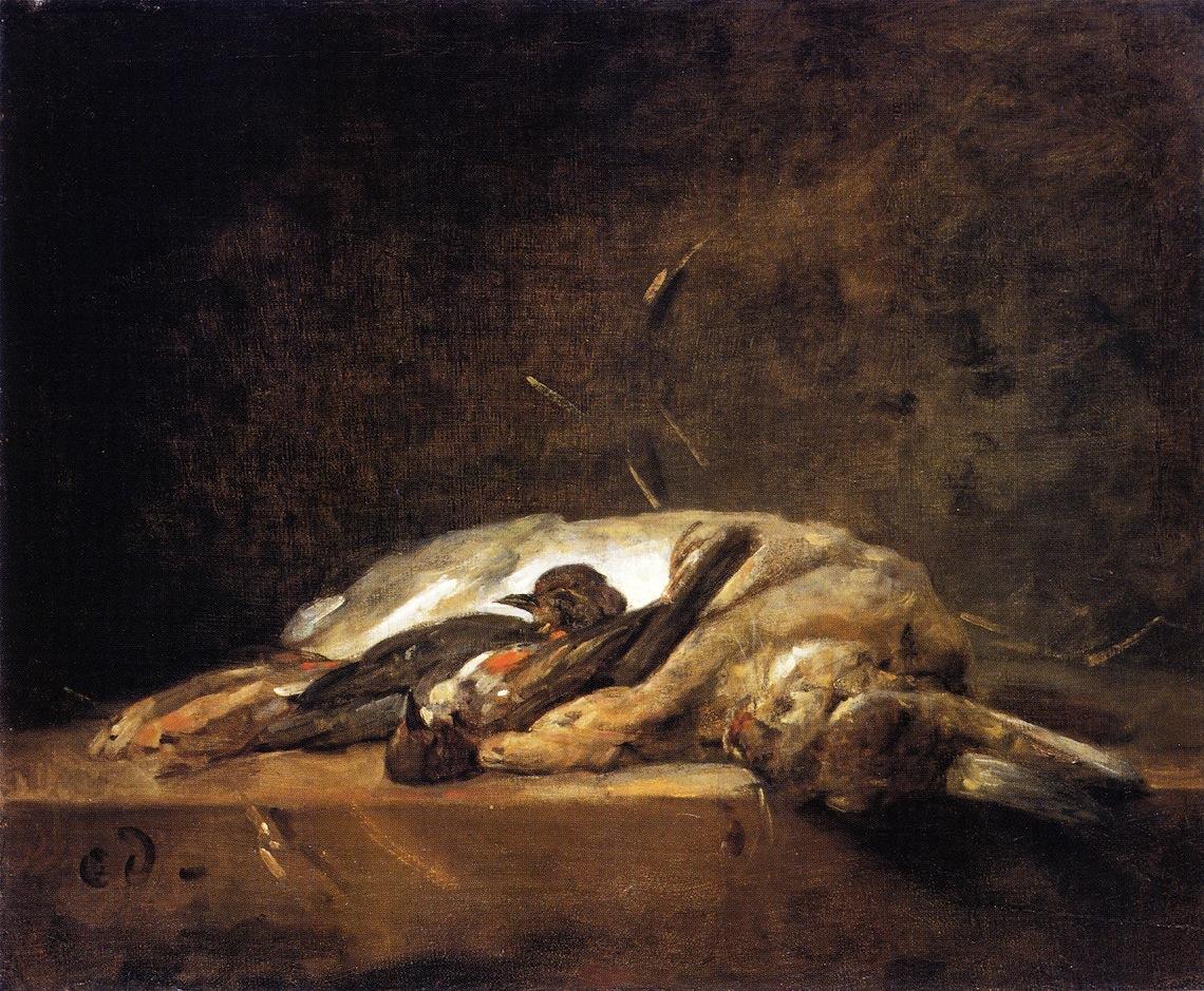 Жан Шарден / «Натюрморт с кроликом и двумя дроздами» / 1755