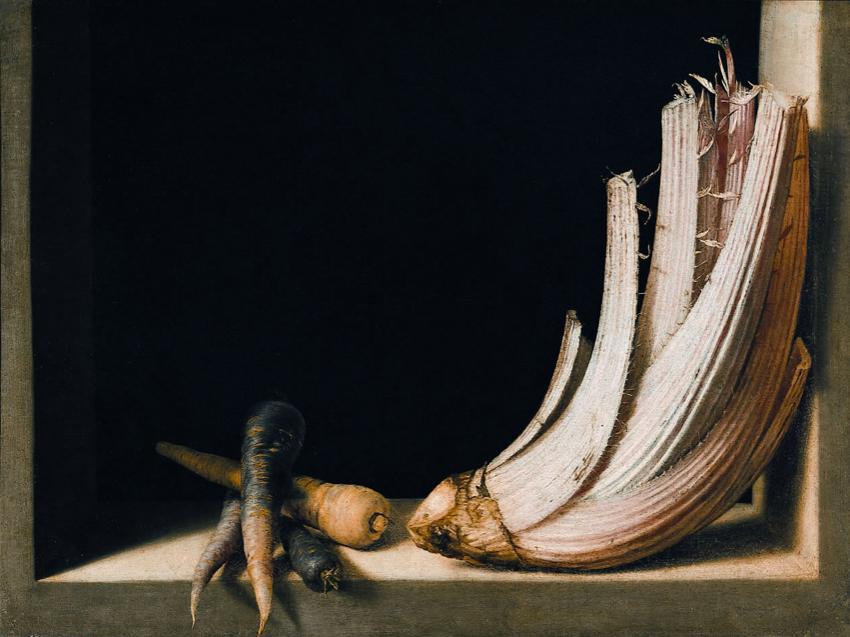 Хуан Санчес Котан / «Бодегон с морковью и корнем испанского артишока» / 1627
