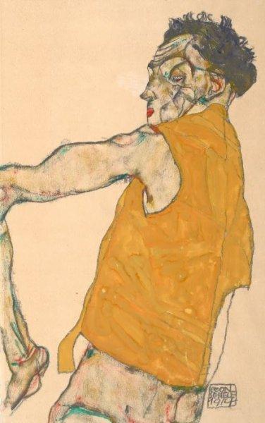 Эгон Шиле / «Автопортрет в желтом жилете» / 1914