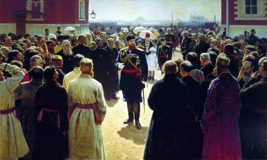 Илья Репин / «Прием волостных старшин императором Александром III» / 1884