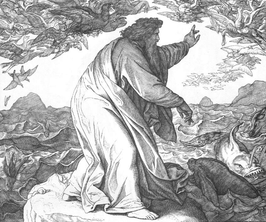 Юлиус Шнор фон Карольсфельд / «Илюстрации к Библии», пятый день творения (Бытие 1:20-23) / 1852